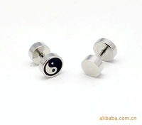 Серьги-гвоздики Mix Order $10 Piece Only Titanium stud 8mm single face pattern stainless steel stud Men earrings 2066