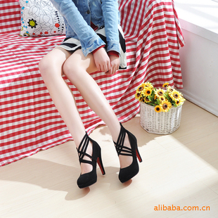 Wholesale fashion shoes, cross thin strips zipper waterproof single high-heeled shoes MJR161