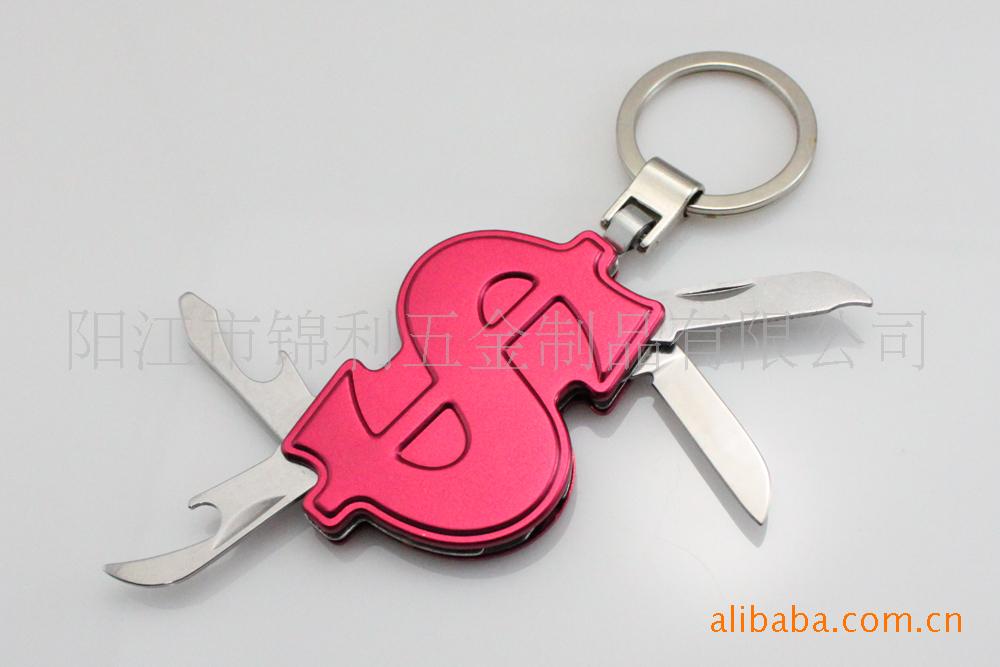 美元符号广告促销礼品小刀 多用赠品小刀 多功能钥匙扣小刀图片