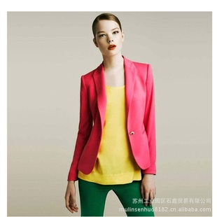 Special feedback a the buckle color candy colors suit women Slim suit jacket 7574