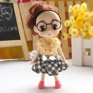10cm glasses plaid skirt the Qimonda doll Korean Korean confused doll wholesale mobile phone pendant doll wholesale