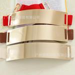 欧美范 徐濠萦同款 漆皮金色铁片金属片镜面腰带 腰封 皮带x50