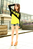 Free shipping,2012 AMIO women's long-sleeve 100% cotton t-shirt loose batwing shirt twinset