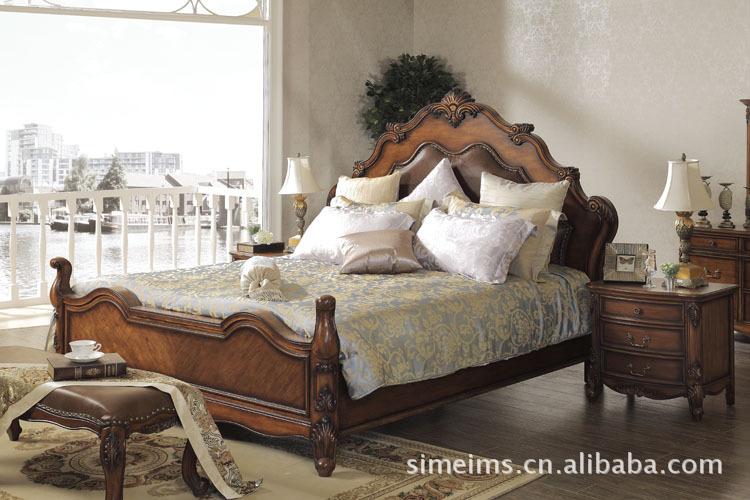 【欧美别墅家具床、床头柜、床尾椅和衣柜】价