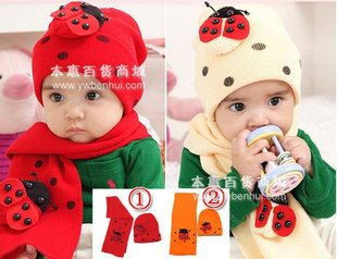 Ladybug hat / Beetle cap hat scarf two-piece MZ0179