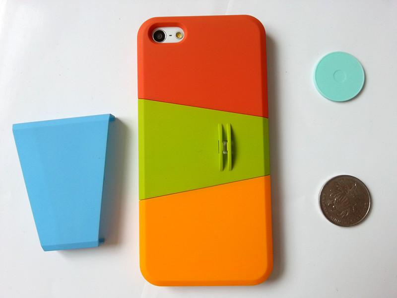 手机iphone5手机壳三节格子三色手机套苹果韩版支架羊毛呢图片