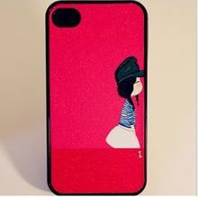 A158 iphone4 4S 彩绘贴皮手机壳 闪粉保护壳 情侣保护外壳
