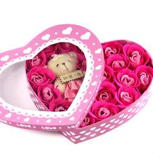 2013新款情人节礼品香皂玫瑰花最畅销款式情人礼品心型18朵+小熊