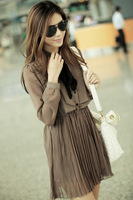 FREE SHIPPING! 2012 autumn and winter fashion bow pleated long-sleeve chiffon one-piece casual  dress6217