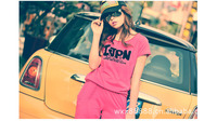 Женские толстовки и Кофты 201 summer hot-selling letter print short-sleeve 100% cotton casual sports set t-shirt capris female