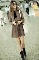 Женское платье 2012 autumn and winter fashion bow pleated long-sleeve chiffon one-piece casual dress6217