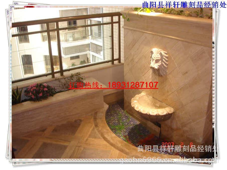 加工石雕工艺品汉白玉喷水狮子头 室内装饰石雕流水喷泉兽