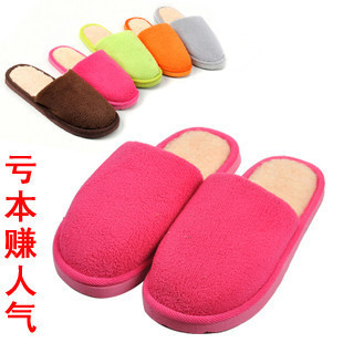 T010 Special simple solid color coral fleece cotton slippers home slippers floor plush slippers