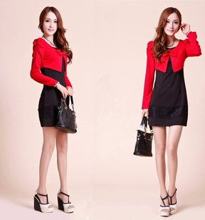 CIROS positive brand autumn and winter long-sleeved dress red and black stitching lace skirt retro Korea in women