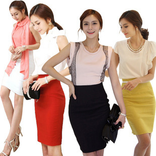 Taobao hot explosion models new retro high waist skirt package hip skirt red knee-length skirts OL career step skirt
