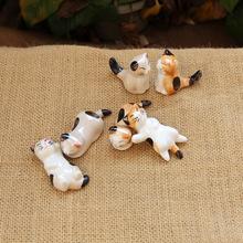 zakka创意家居 日系可爱陶瓷猫咪筷子架 猫咪六兄弟陶瓷摆件 宜家