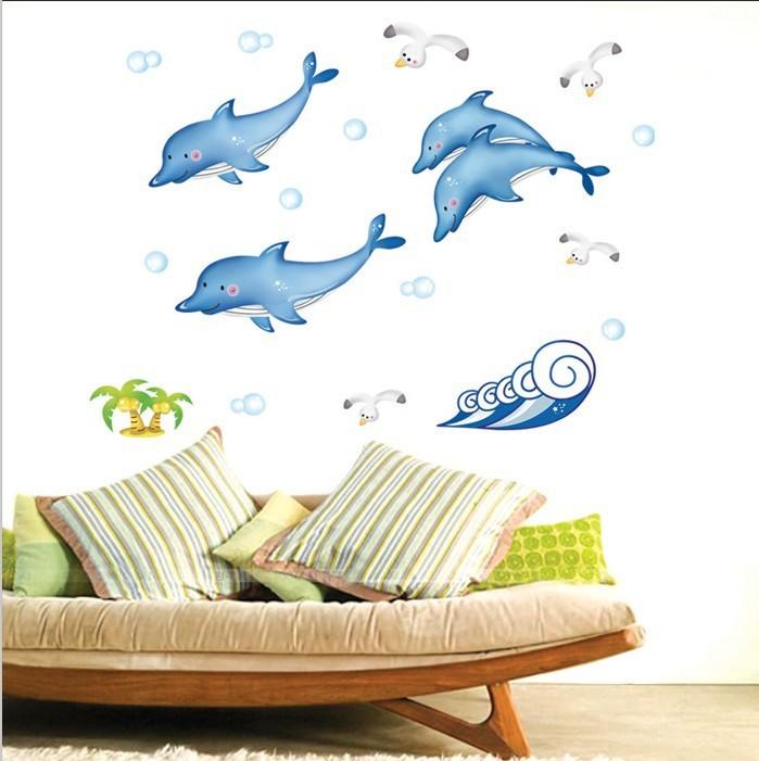 浴室卫生间瓷砖贴玻璃装饰贴画浪花海豚鱼墙贴DM57 0102墙贴厂家