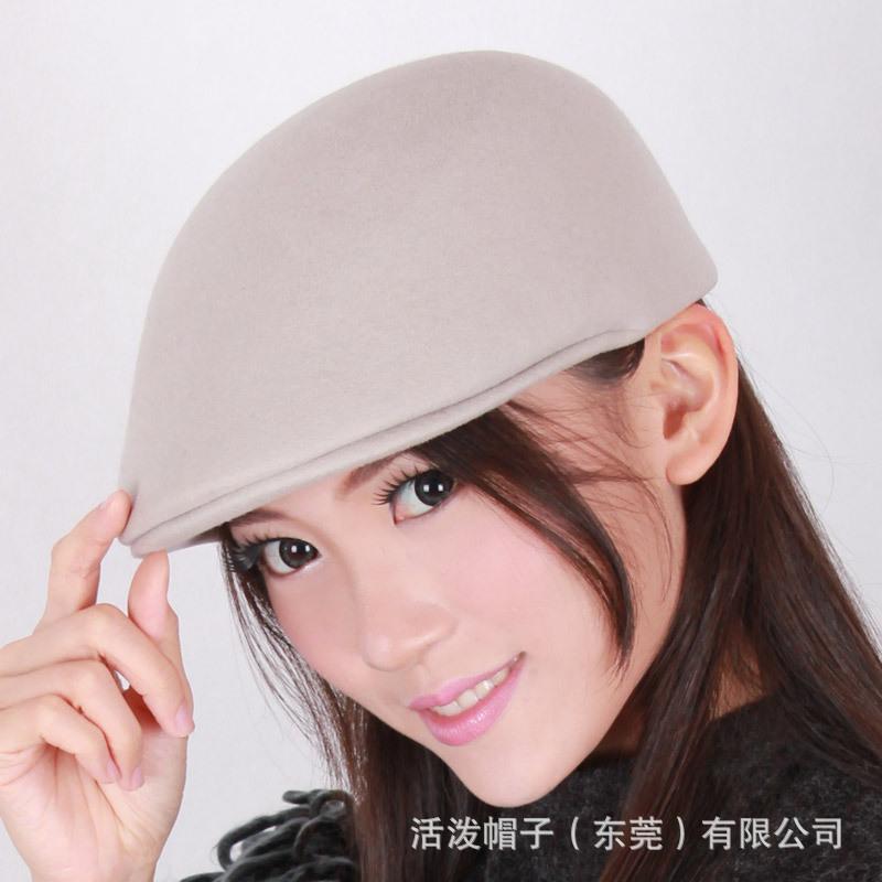 秋冬高档羊毛鸭舌帽 男女士贝雷帽 自产新款 羊毛毡帽 厂家