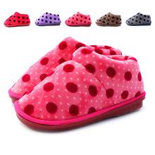 新款比趣珊瑚绒圆点棉鞋 包跟情侣拖鞋 棉拖鞋批发D-01
