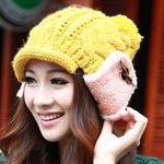 秋冬帽子 蝴蝶结钮扣护耳帽 韩版毛球针织帽 女卷边毛线帽 DG0895