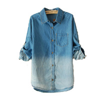 Женская джинсовая одежда Fashion solid color gradient water wash retro finishing long-sleeve all-match denim shirt x1573