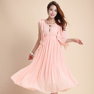 Korean female wild solid color beach dress big yards chiffon skirt mopping the floor skirt large swing dress 6064