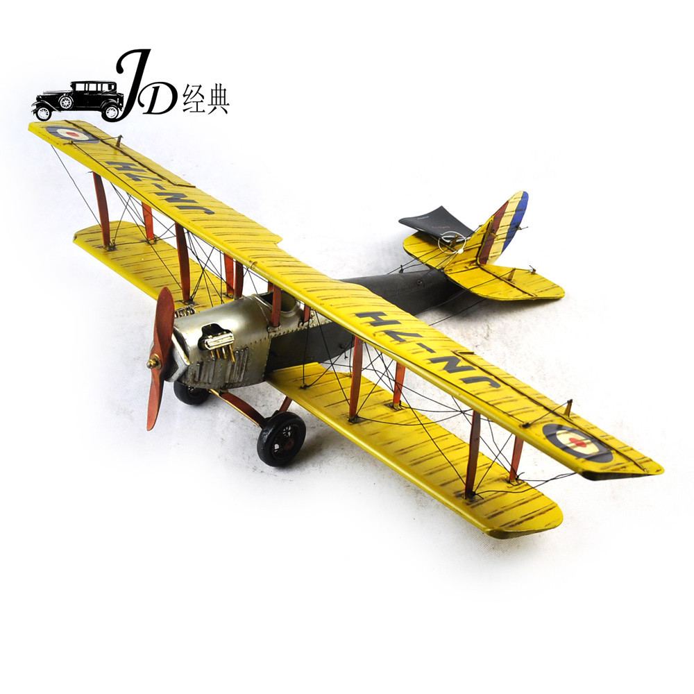 Supply Vintage iron sheet airplane model world war I, yellow Curtis ...