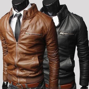 14 new trade new horizontal zipper locomotive leather men short paragraph Slim washed leather motorcycle stand collar le