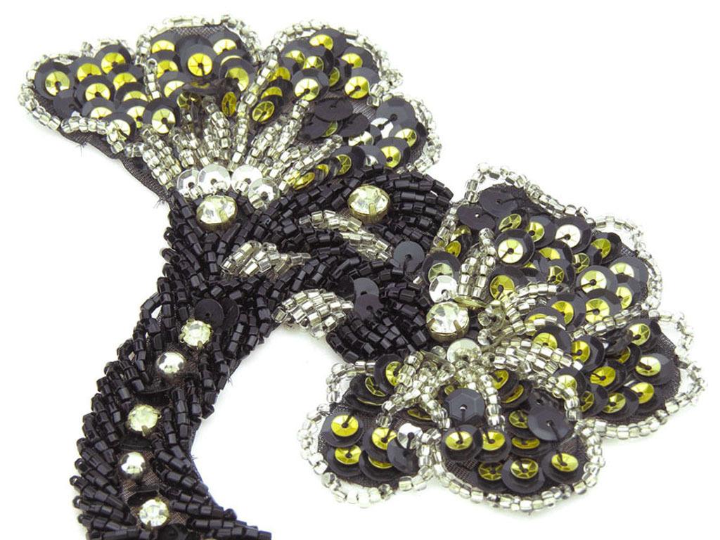 小弯角黑珠万能 花DM 10067 珠子绣 手工钉珠