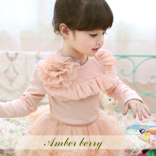 [Amber berry ˉ 2346 Spot] Autumn 2013 Korean children's clothing wholesale girls mesh backing shirt