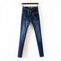 Женские джинсы Vintage little denim trousers slacks female single-breasted pencil pants