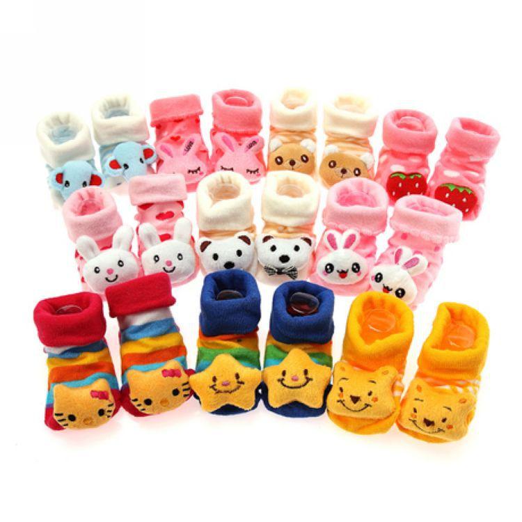 宝宝卡通松口动物头纯棉防滑鞋型婴儿袜  新生儿全棉立体袜