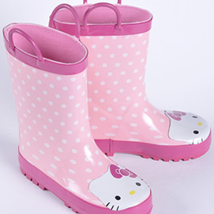 Children kttiy cat girls non-slip rubber rain boots water shoes boots Korean version of paternity rain boots laces handl