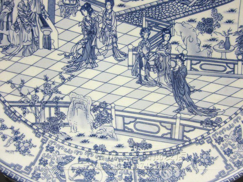 景德镇奶奶青花瓷清明上河图盘子男生菜盘餐给瓷器大号美女吸图片