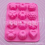 现货供应  长期供应硅胶蛋糕模具 12孔花型硅胶蛋糕模 布丁果冻模