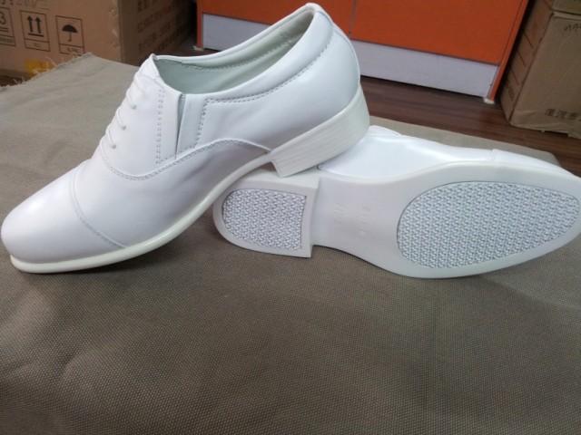 正品金猴07白皮鞋 海军校尉常服白色皮鞋 男士三接头婚礼皮鞋 -价图片