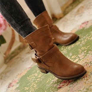 2014 new autumn and winter in Europe and America casual shoes women's boots in the tube Martin boots flat boots moto