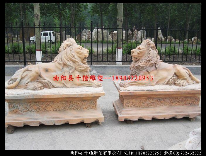 景观雕塑-玻璃钢欧式狮子雕塑定做铜雕定制-景观雕塑