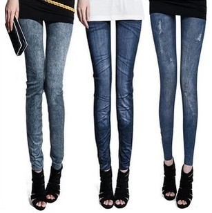 Foreign sources Spring Korean hip Slim thin section nine feet snow pants stretch Denim Leggings