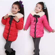 2013冬款 时尚女童毛领棉衣 女童棉袄 棉服批发 韩版中小童棉衣