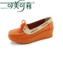 可美可莉品牌绑带女鞋牛皮二层皮松糕单鞋秋冬浅口pu大底舒适女鞋