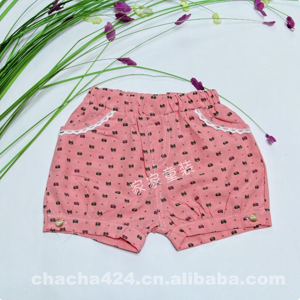 【K8210-2】童裤_夏季小熊点花边裤子女装裤下的女童把拖美女图片