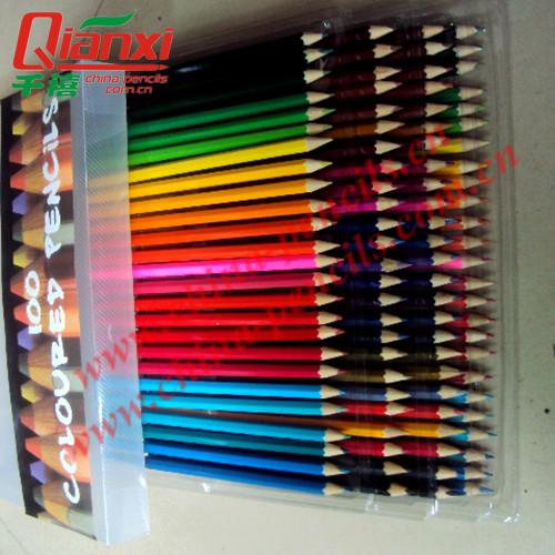100支PVC袋色彩艳丽铅笔套装,六角杆彩色铅笔,可定制木杆