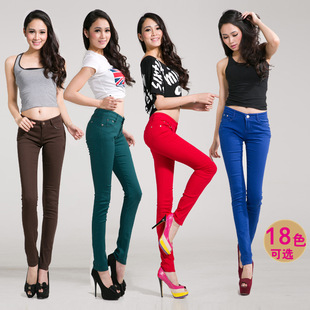 Factory direct color candy colored pencil pants stretch pants Korean version of the influx of women of color jeans pants