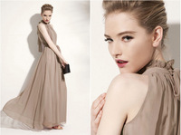 Женское платье The New Fashion sleeveless vest loose expansion bottom full long dress with belt