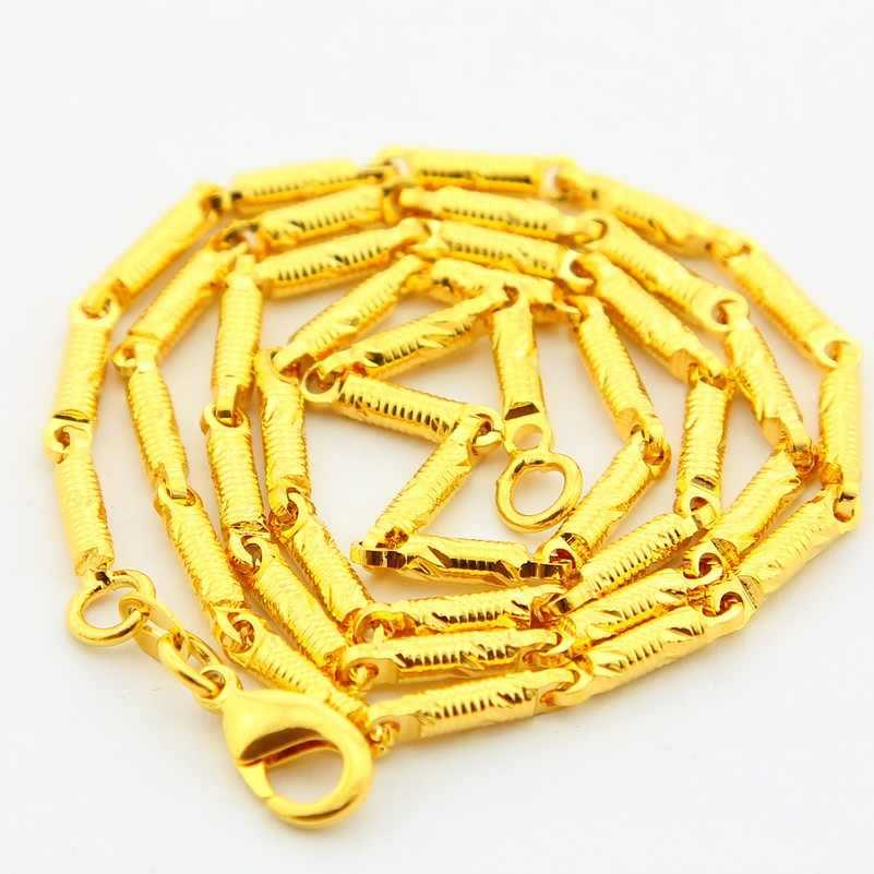 24k Gold Jewelry Necklace Gold Ingot Chain Necklace Luxury for