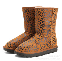 厂家一件代发潮流豹纹真皮雪地靴厚保暖女鞋防滑中筒雪地靴5825