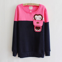 Женские толстовки и Кофты New 2013 Fashion Hot women's autumn pullover sweatshirts cute cartoon animal pocket fleece hoodies