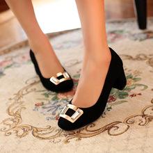 2014春季新款女鞋 欧美大牌范粗跟方扣羊皮浅口女式单鞋 高跟女鞋
