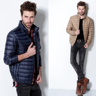 2014 wholesale new Uniqlo thin models down jacket collar men short down jacket factory outlets